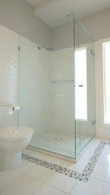 Frameless Front & Return Shower Screen with Polished Silver Hinges & Clips