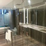 Frameless Shower Screen to Ceiling with Polished Silver Hinges