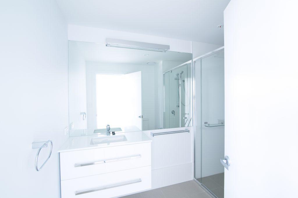 Frameless Vanity Mirror & a Semi-Frameless Shower Screen