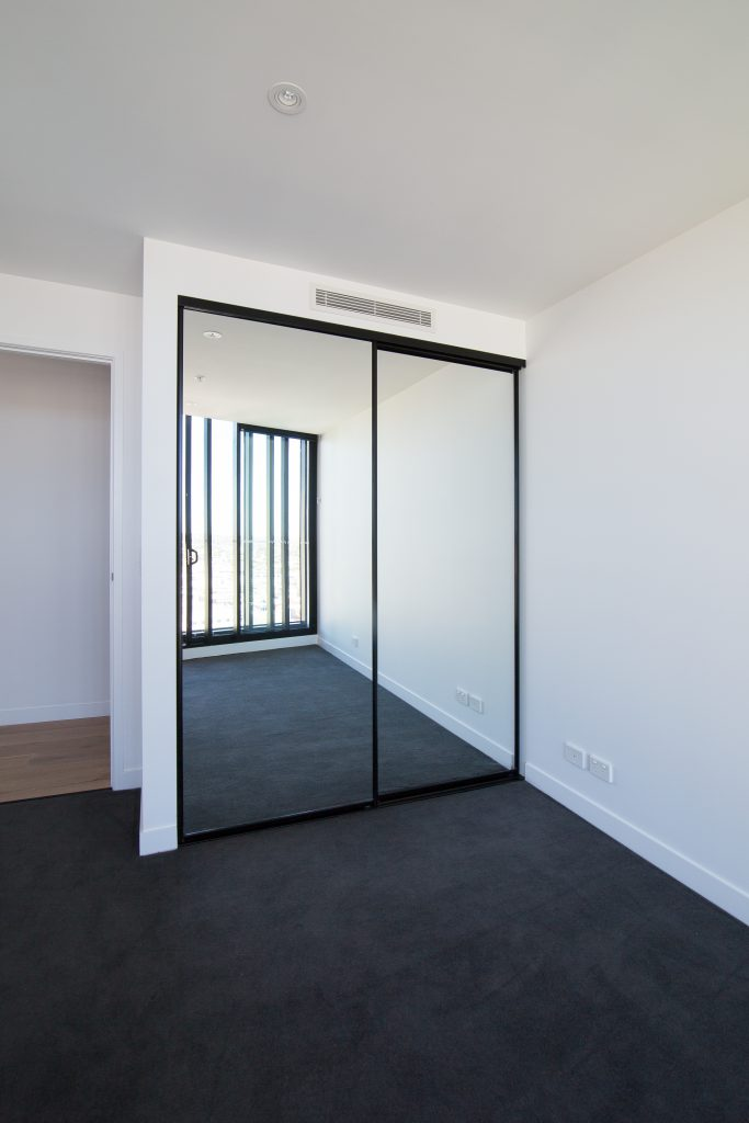 Black Framed Mirror Robe Doors with Black Tracks