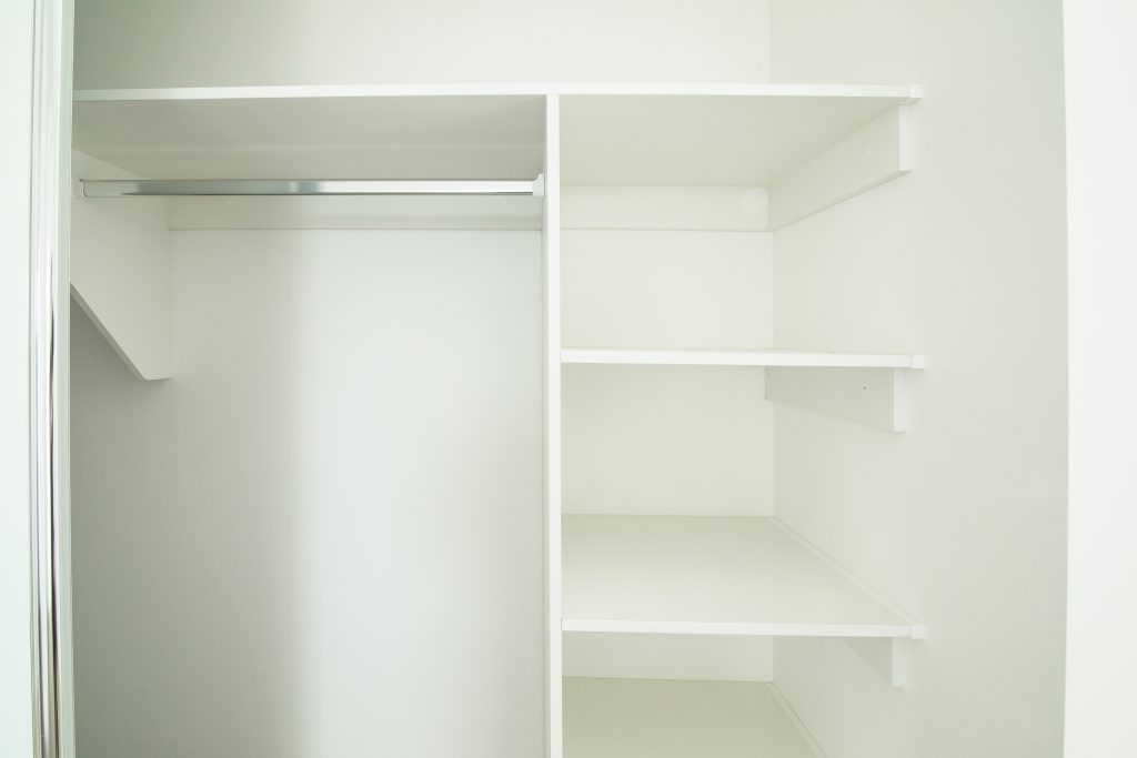 Built-in Wardrobe - Standard White Board Top Shelf & Shelving with Chrome Hanging Rod
