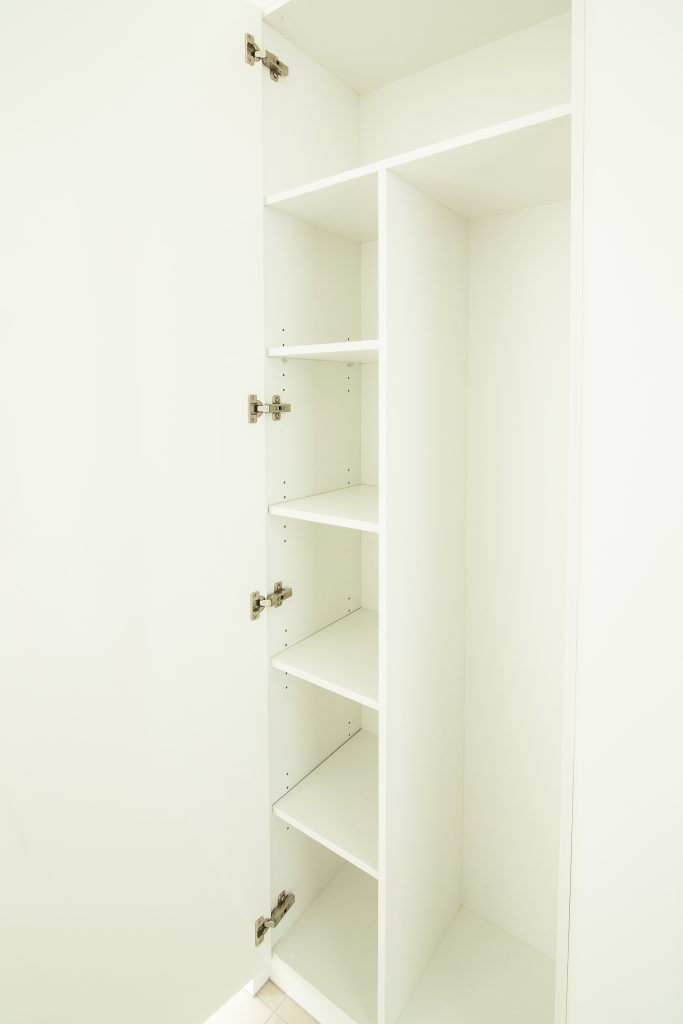 Built-in Wardrobe - Standard White Board Shelving and Door with Polished Silver Hinges