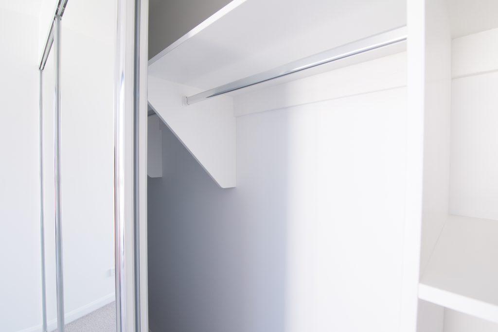 Frameless Mirror Robe Doors & Built-in Wardrobe - Standard White Board Top Shelf with Chrome Hanging Rail