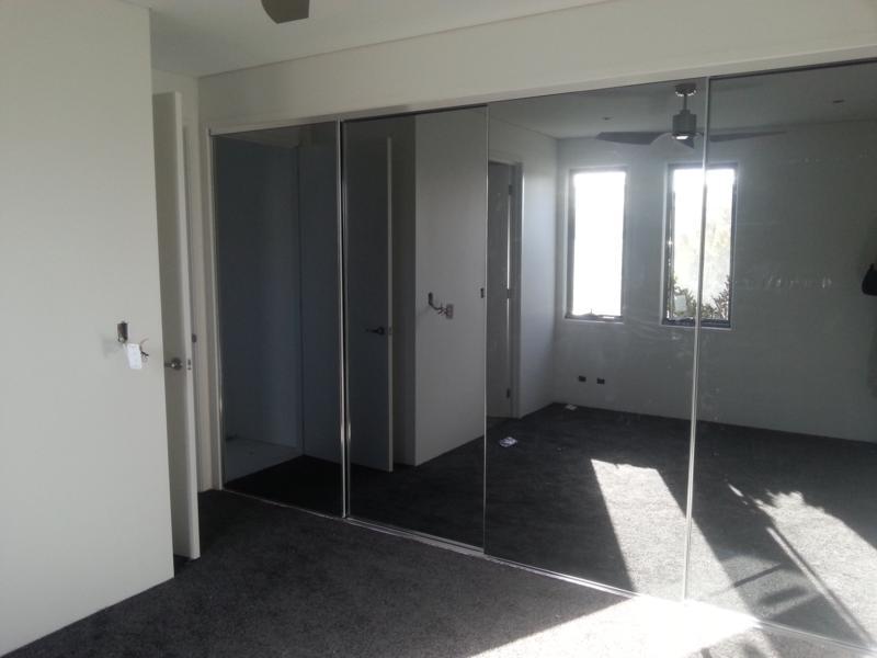 Frameless Grey Mirror Robe Doors