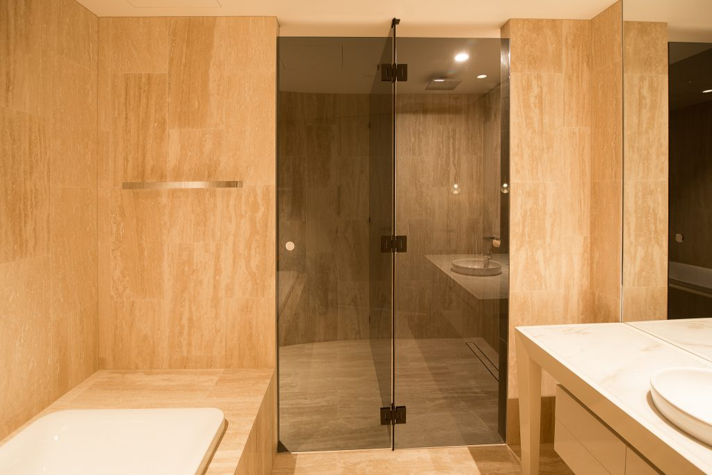 Grey Glass Frameless T-Screen (for Shower & Toilet) with Black Hinges & Brackets