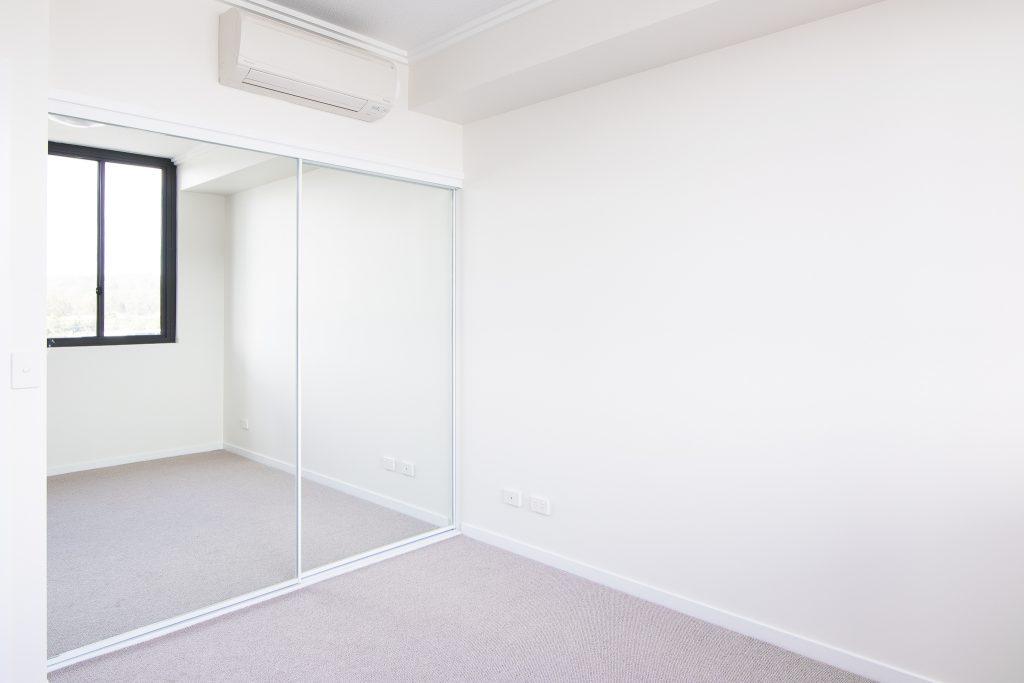 White Framed Mirror Robe Doors with White Tracks