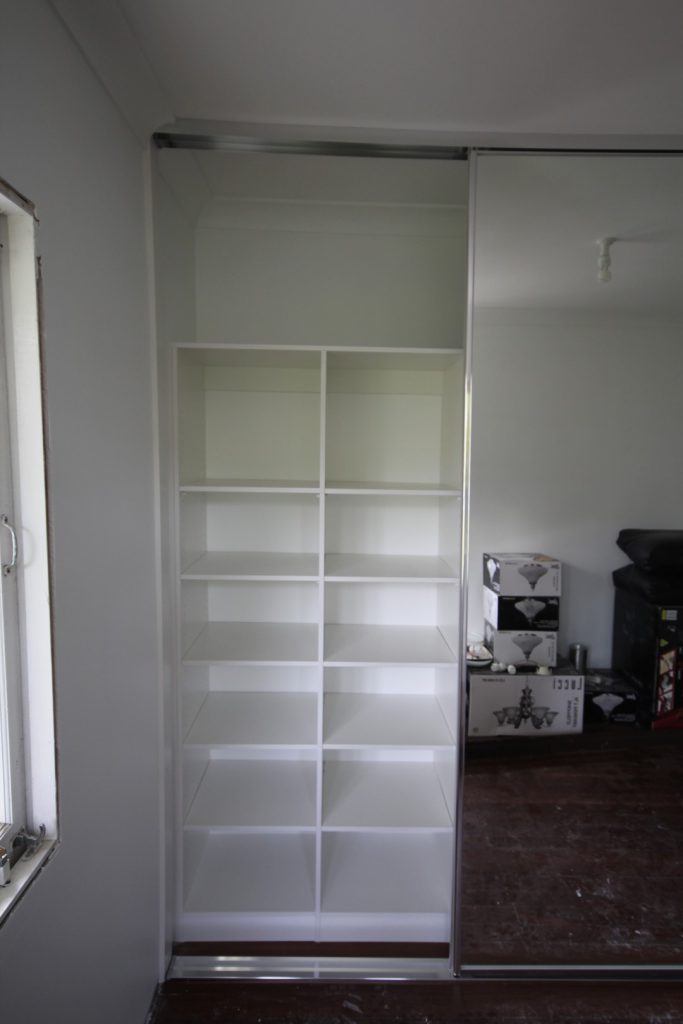 Frameless Mirror Robe Doors with Polished Silver Tracks & Built-in Wardrobe - Standard White Board Top Shelf & Shelving