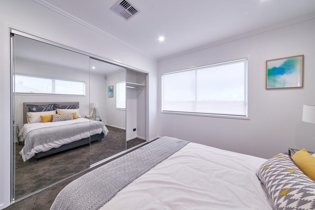 Frameless Mirror Robe Doors with Polished Silver Tracks & Built-In Wardrobe - Standard White Board Top Shelf & Chrome Hanging Rod