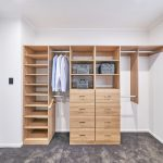 Walk-In-Wardrobe - Polytec Prime Oak Matt Colour Board Shelving, Chrome Hanging Rods & Banks of Drawers with Polished Silver Handles