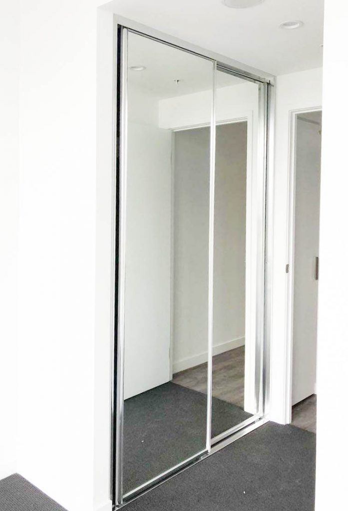 Polished Silver Framed Mirror Robe Doors with Polished Silver Tracks