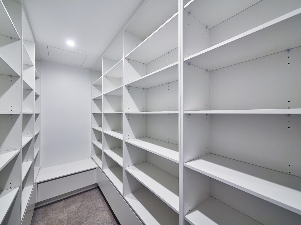 White Board Adjustable Shelving with Finger Pull Drawers Underneath Shelving