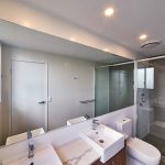 Frameless Mirror & Semi-Frameless Vogue Shower Screen with Polished Silver Frame