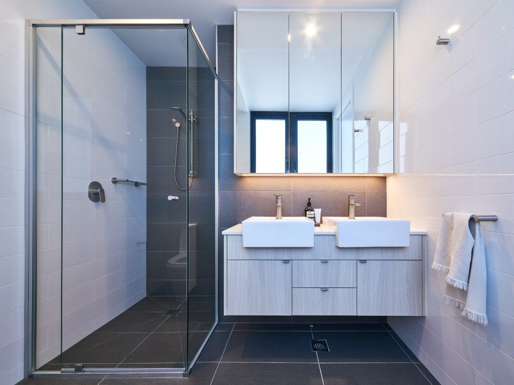 Semi-Frameless Polished Silver Vogue Shower Screen & Mirror Shaving Cabinet
