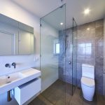 Mirror Shaving Cabinet & Frameless Shower Screen with Polished Silver Clips
