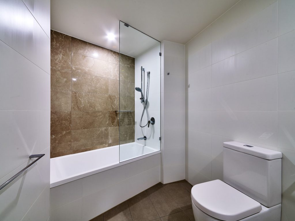 Frameless Shower Screen Panel with Polished Silver Clips