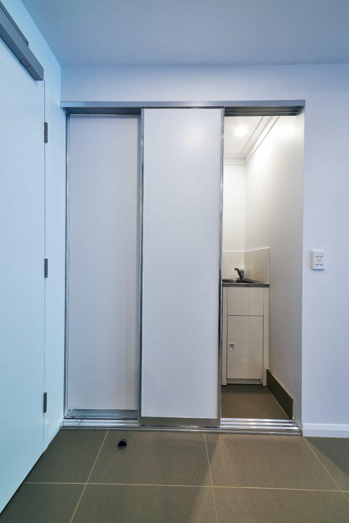Polished Silver Framed Slimline Robe Doors with Polished Silver Triple Tracks