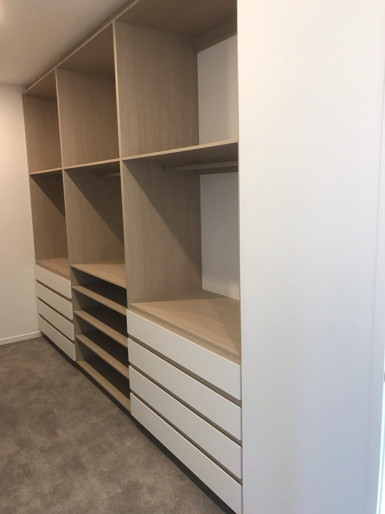 Built-In Wardrobe - Polytec Coastal Oak Wood Matt Colour Board Shelving with Polytec Crisp White Drawer Fronts