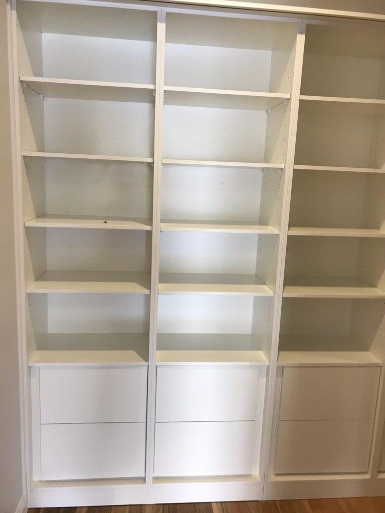 Built-In Wardrobe - White Board Shelving with Storage Drawers