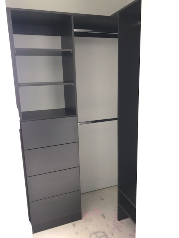 Built-In Wardrobe - Laminex Battalion Colour Board Shelving, Bank of Drawers & Chrome Hanging Rods