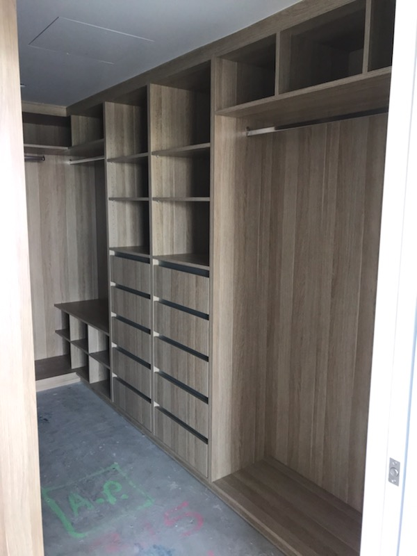 Built-In Wardrobe - Polytec Natural Oak Colour Board Shelving, Banks of Drawers & Chrome Hanging Rods