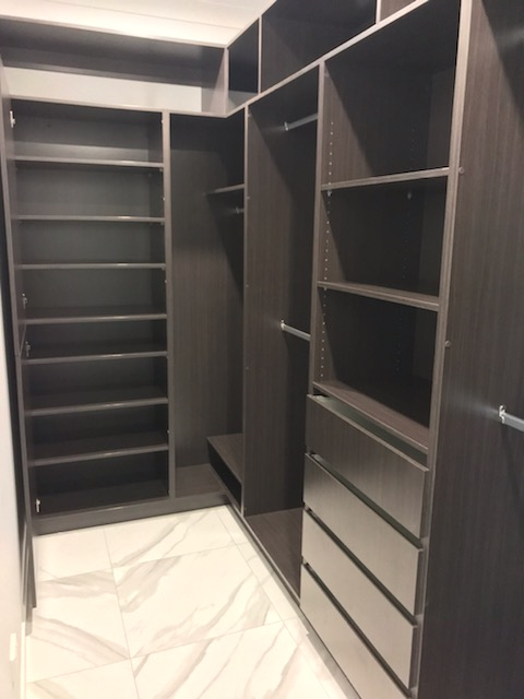 Built-In Wardrobe - Polytec Shannon Oak Colour Board Shelving, Banks of Drawers & Chrome Hanging Rods