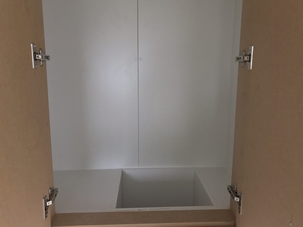 Laundry Chute in White Board with Hinged Doors