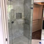 Frameless Shower Screen with Polished Silver Hinges & an Enduro-Shield Coating (for easy cleaning)