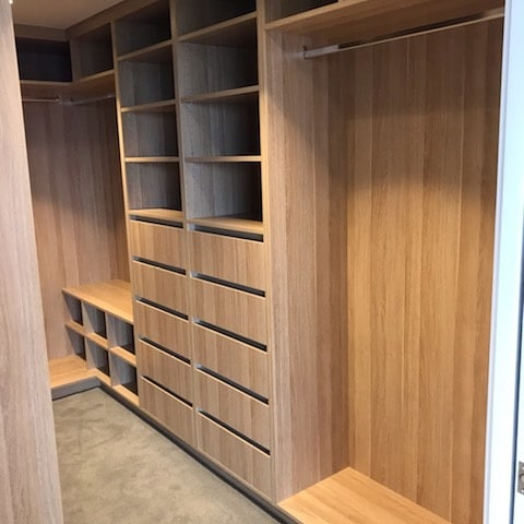 Walk-In Wardrobe - Polytec Natural Oak Colour Board Shelving, Banks of Drawers & Chrome Hanging Rods