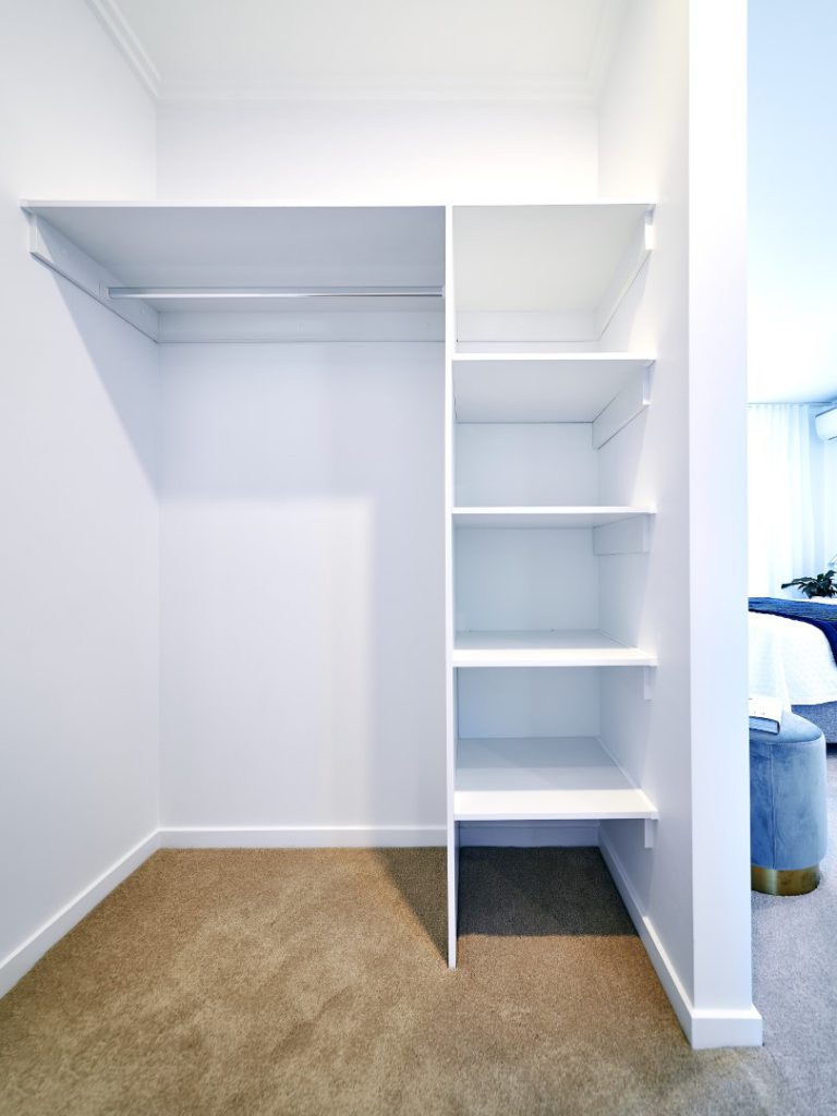 White Board Shelving with Top Shelf & Chrome Hanging Rod