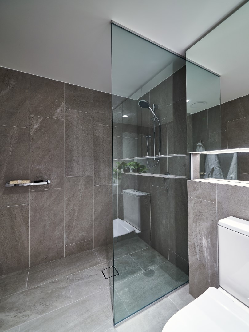 Frameless Shower Screen Panel with Polished Silver Channel Top & Bottom
