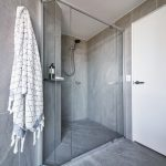 Polished Silver Framed Vogue Shower Screen with Polished Silver Pivots and Standard Shower Screen Knob