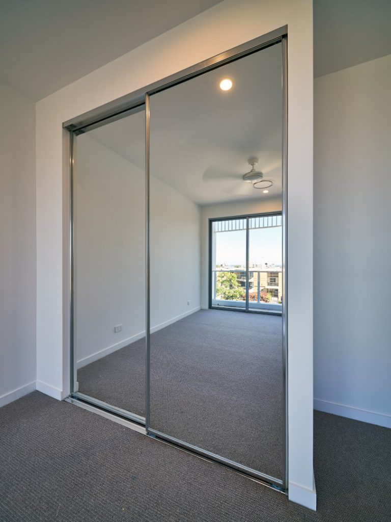 Mirror Robe Doors with Polished Silver Frame & Polished Silver Tracks