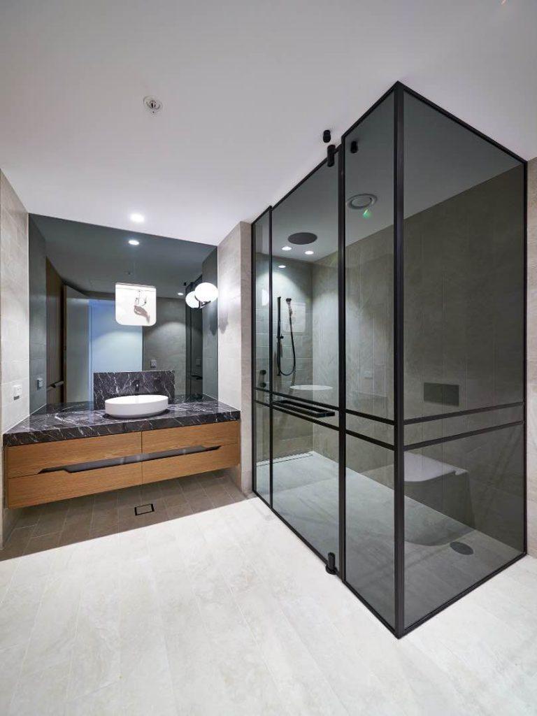 Grey Shower Screen With Pivot Door