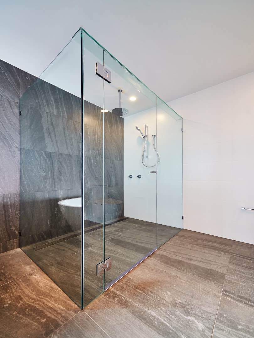 Frameless Shower Screen With Return Panel Installed With Wall Clips